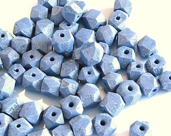 Faceted grey marble polymer clay bead