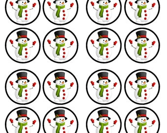 Christmas Snowman #1 Edible Wafer Rice Paper Cake Cupcake Toppers x 24