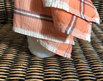 Vintage Handkerchief Vintage Hanky Vintage Kerchief Orange Plaid Handkerchief Tea Party Garden Party Ladies Hankerchief Womens Hanky Suit
