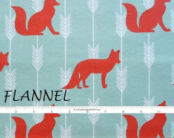 Fox Flannel Fabric, Woodland Flannel Quilt Fabric, A E Nathan Comfy Flannel 11503, Dusky Mint & Orange Flannel Fox Fabric, Cotton Flannel