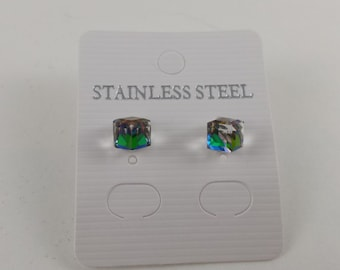 Gleaming the Cube Crystal Stainless Steel Post/Stud Earrings
