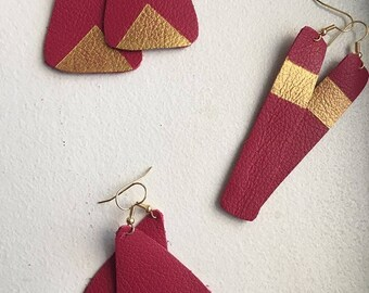 Raspberry Pink Leather Earrings