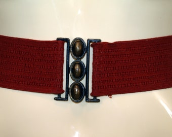 Vintage Dark Red Stretch Belt with Bronze-tone Buckle
