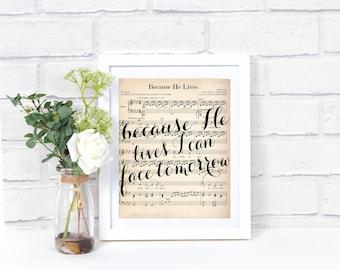 Printable Hymn Art - Because He Lives