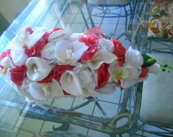 Coral and white   callas lilies , orchids and roses  silk cascade wedding bridal bouquet 2pc