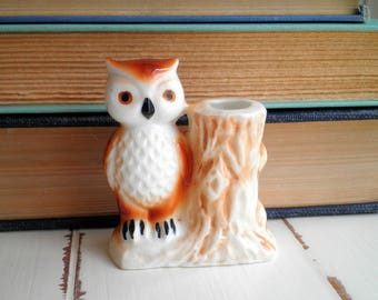 Vintage Woodland Owl Toothpick Holder  - Retro Owl & Tree Stump Figurine - Mini Ceramic Owl Planter / Home Decor - New House / Holiday Gift