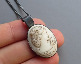 Vintage 1930s Ivory Glass Bust Cameo Black Silver Necklace