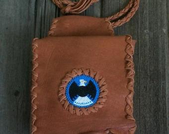 Leather belt bag , Leather hip bag with beaded eagle totem , Eagle medicine bag
