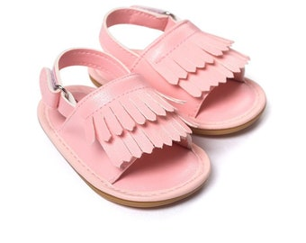 Shoes baby girl pink blush faux leather 6 months