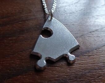 Silver Jigsaw Puzzle Piece Necklace Pendant, Satin