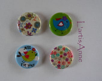 Birds and Liberty Badges or magnets magnets.