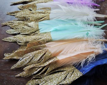 Gold or Silver Glitter Dipped Feathers Wedding Decor Birthday Party Tribal Boho Garland Glitter Tipped Wild One Photo Prop Nursery