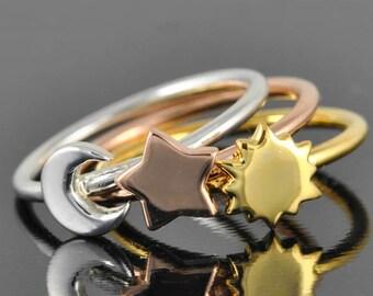 Star ring, Sun ring, Moon ring, sterling silver ring, crescent moon ring, crescent moon