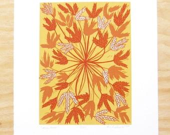 "Woodblock Print - ""Hello, There"" - Wheat Big Blue Stem - Friendly Plants - Yellow Orange"