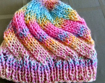 Made to Order - Pastel Rainbow Puke Swirled Hat - Winter Accessory - Spring Fashion - Gifts for Women