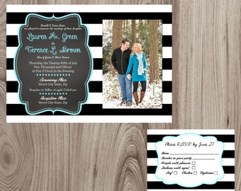 Black and White Stripe with picture Wedding Invitation & Response Card Printable DIY