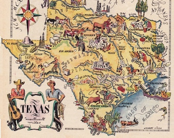 map of Texas from the 1940's, funny pictorial map, digital download, printable collage sheet no. 1232.
