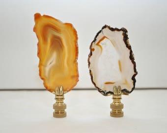 Lamp Finials - Mixed Brazilian Agate Pair