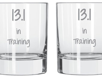 Etched 13.1 In Training Glass Great Gift For Any Runner FREE Personalization