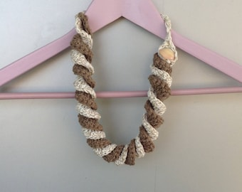 Crochet cotton necklace, Torchon, Ecru two-tone choker and coffee