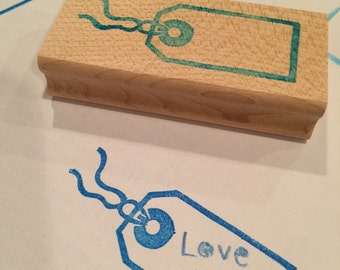Tag rubber stamp// hand carved and hand crafted