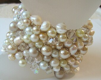 Freshwater Glass Pearl Mix Wedding Bracelet with Crystals, Wide Chunky Cuff, Ivory, White, Champagne, Hand Knit Exclusive, Sereba Designs