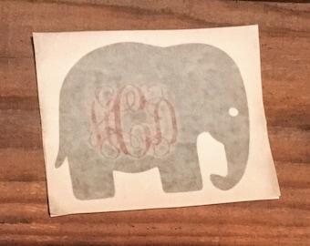 Yeti Tumbler Elephant Monogram Vinyl Decal