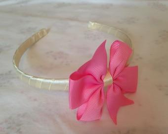 Pink Pinwheel Style headband, Satin Girls Hairband, Headband, Alice Band, Light pink Bow,