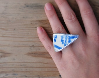 Blue Beach Pottery Ring Sea Tumbled Pottery Geometric Triangle