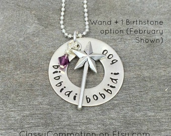 Bibbidi Bobbidi Boo - Fairy Godmother Necklace with Wand - Hand Stamped Jewelry