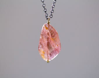 Pink Tourmaline Necklace in Sterling Silver and 18K Solid Gold, Raw Tourmaline Necklace, October Birthstone - Origins