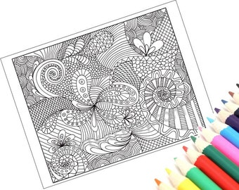 Coloring Page Printable, Zentangle Inspired, Instant Download, Zendoodle Pattern, Page 12