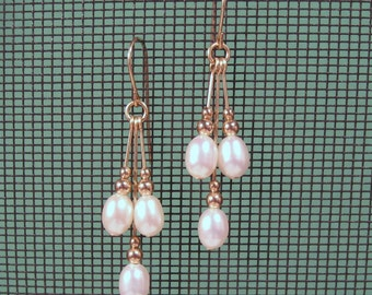 Gold-filled Freshwater Pearl Multi-Dangle Earrings