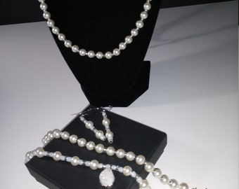 Quartz and Pearl Jewelry Set