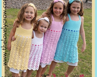 Girls Easter Dress Crochet Pattern BELLA LENA DRESS