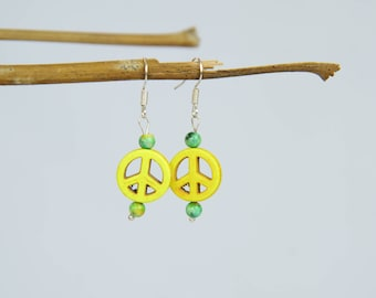 Small Yellow Peace Sign Earrings
