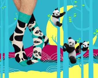 Stains Socks, Panda Socks, Mismatched Panda Socks, Panda Socks for Women and Men, Cute Panda Socks, Women Socks, Men Socks, Kawaii Socks,