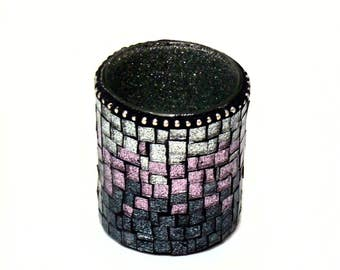 Candle Votive - Mosaic Candle Votive - Votive Holder - Tea Light Holder - Votive Cup - Candle Holder - Ombre Candle Votive - Glitter Glass
