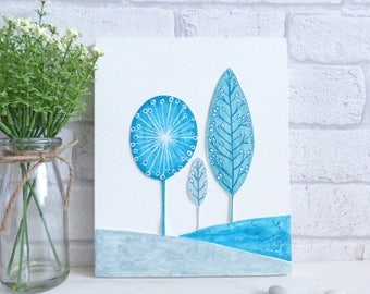 Hill's and Tree's, Original Art, Colourful Teal Decorative, Texured Wall Art