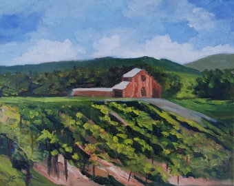 Napa Valley Vineyard Original Oil Landscape Painting Wall Decor by Rebecca Croft