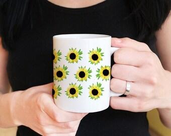 Sunflower Mug Custom Coffee Mug Gift - Watercolor Floral Mug - Ceramic Coffee Mug - Cottage Kitchen Sunflower Gift - Tea Mug Gift for Her