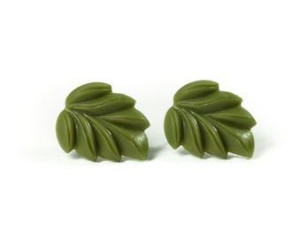 Tropical Leaf Resin Post Earrings