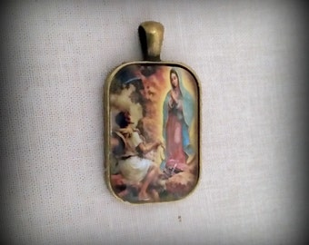 Picture Pendant of Our Lady of Guadalupe with Saint Juan Diego, Christian Gift for Him, Faith Jewelry
