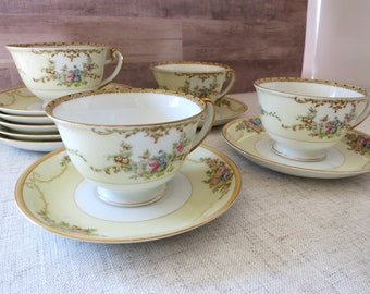 Vintage Meito China Cups and Saucers, Vintage China Teacups, VIntage China Saucers, Meito China N1065A, Vintage Meito China - V331
