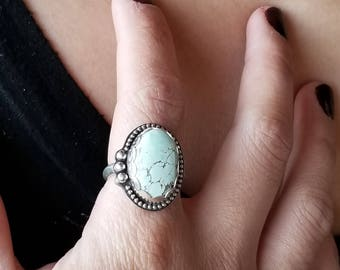 Variscite  Ring -  Size 8 5/8  -  Sterling Silver READY TO SHIP