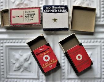 Vintage Tiny Dennison Boxes, Sliding Boxes, Star Box, Reinforcement Boxes
