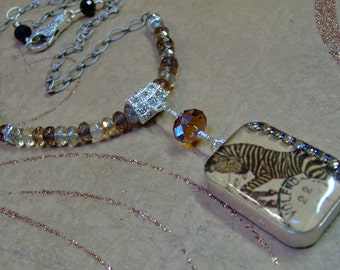 Resin Pendant Double Sided With Zebra and Floral Prints - Vintage Style Necklace - Handmade Animal Print Resin Pendant and Clasp
