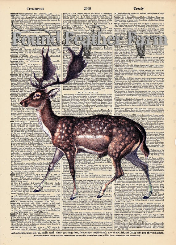 "Vintage Antique Dictionary Page with Antique Print ""Fallow Deer"""