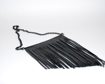Patent leather necklace on black chain. Statement necklace.
