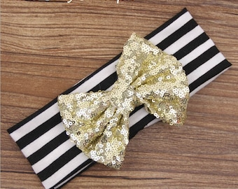 Black and white striped GOLD sequin headband baby girl